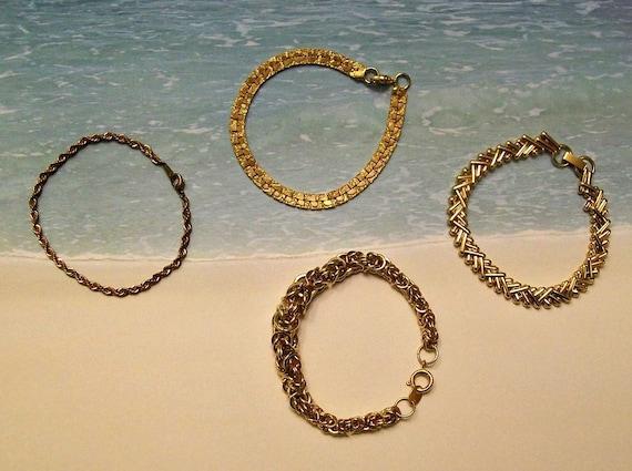 Vintage Bracelets Collection of Four Goldtone Chain style Bracelets