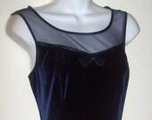 MIDNIGHT BLUE VELVET Dress Sheer Illusion Neckline Bow Front 7/8