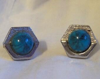Vtg Blue Cabachon Turquoise Cufflinks Art Deco