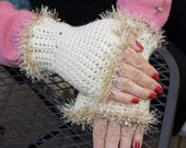 SALE 50% OFF  Crocheted Fingerless Gloves- Sparkly French Vanilla