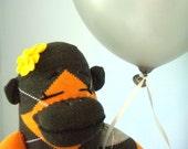 Argyle Sock Monkey Doll, plush - handmade, Girl, Children's Toy, Stuffed Animal, Grey, Orange
