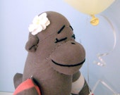 Sock Monkey Doll - Argyle, Girl, Children's Toy, Stuffed Animal, Taupe, light brown, salmon