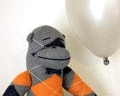 Argyle Sock Monkey Plush - Handmade, Children's Toy, Stuffed Animal, Gray, Orange, Navy