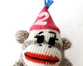 Birthday Cake Topper Sock Monkey - Girl