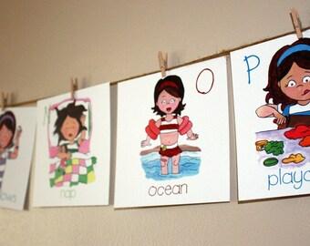Girl Alphabet Wall Cards