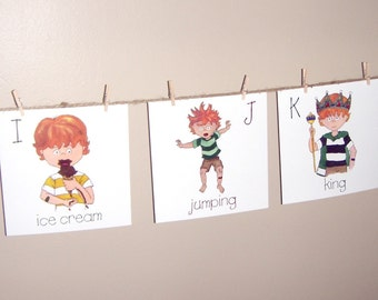 Red Head Boy Alphabet Cards