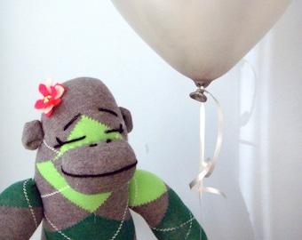 Green Sock Monkey Doll