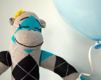 Argyle Sock Monkey Doll