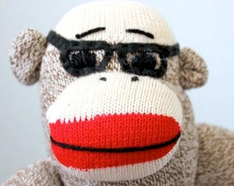 Nerd Sock Monkey Plush - Stuffed Animal, Doll, Handmade, Geekery