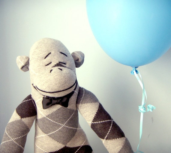Argyle Sock Monkey - Handmade, Children's Toy, Stuffed Animal, Gray and Black