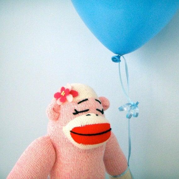 Pink Sock Monkey Doll