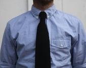 Black Wool Knit Tie Herringbone