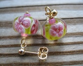 gold filled ear post -Tropical Flower post earrings - citrone yellow, pink flower, lampwork glass