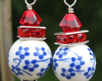Red White and Blue drop earrings on sterling silver