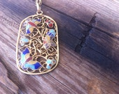vintage butterfly necklace / 70s jewelry / pendant /  WINGED