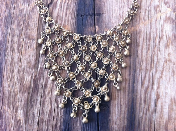 vintage 60s brass bib necklace / 60s jewelry / brass bell necklace / GYPSY ROSE