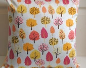 "Cushion cover 18""x18"" various trees - orange, yellow, pink, cherry"