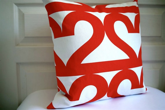 "Print on BOTH SIDES - Decorative Cushion cover 18""x18"" / Number 2 / Red and white - Sweden Design"