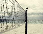 Beach Ocean Photography, Landscape Photograph, creme blue pastels, nature, sports, volleyball, bird, sea, fine art print, 6x6