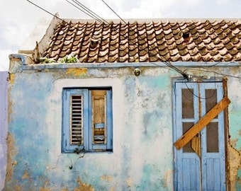 Travel photography, architecture photo, abandonned pale blue Caribbean house,  tropical wall art, fine art photography print