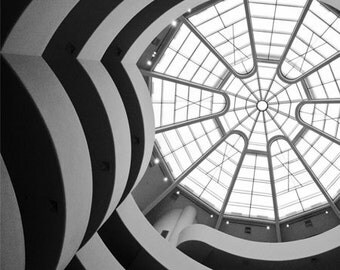 Interior Guggenheim New York, Architecture photo, Black and White geometric abstract wall art, Fine Art Photography Print