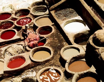 Morocco photography, Travel photograph, Morocco photo, Fez tanneries, Moroccan wall art, travel wall art