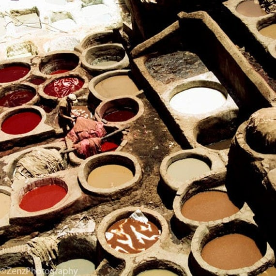 Morocco photography Travel photograph Fez tanneries Moroccan wall art large wall prints