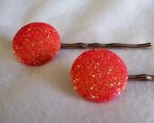 SHOP CLOSING SALE Orange Slushie Sparkle Hair Pins - Set of 2
