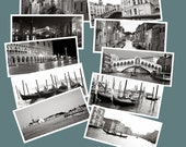 10 Original Black and White Venice Postcards Collection