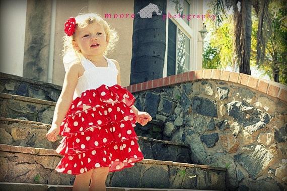 Red Polka Dot Dress, Ruffled Dress, White ties, Elastic Dress