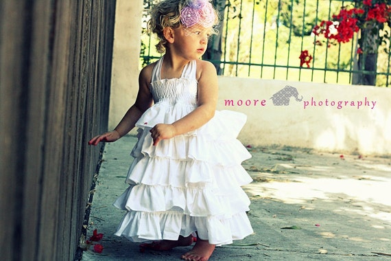 Snow White Dress, White Ruffles, White Ties, Elastic Waist, Photo Shoot, Flower Girl, Wedding