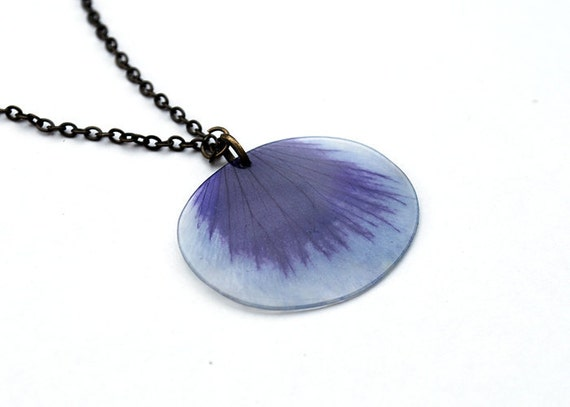 Real Blue Pansy - real petal necklace - botanical jewelry - 2 cm x  2,5 cm