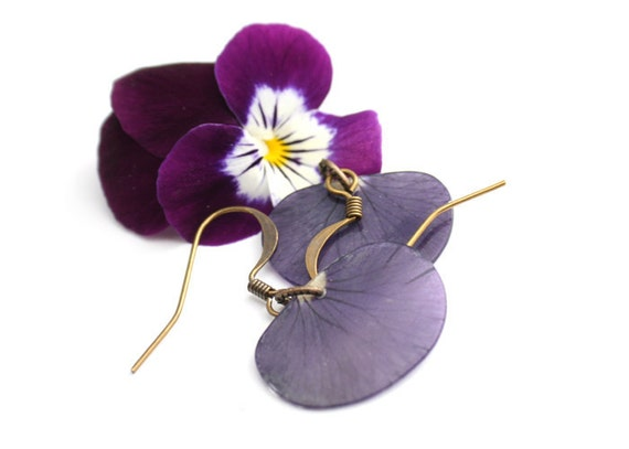 Blue Pansy Earrings - antiqued brass - real flower petals - botanical earrings - garden and nature lover gift