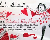 CUSTOMIZED Vintage Valentine's Day/Heart Themed Party Invitation (no.000045)