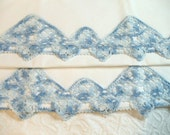 Beautiful pair of vintage pillowcases with awesome blue embroidery  FREE SHIPPING