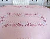 NEW LISTING----shabby crossed stitched pink tablecloth with fringe