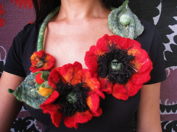 """A felt necklace """"Red poppies"""""""