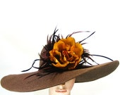 Derby Hat Dress Hat Kentucky Derby Hat Brown Wide Brim Hat Wedding Hat Tea Party Ascot Church Hat horse racing