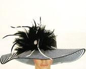 Derby Hat Dress Hat Church Kentucky Derby Hat BLACK & WHITE Hat Wide Brim Hat  Dress Wedding Tea Party Ascot