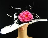 White Derby Hat with pink flower, Dress Hat ,Fascinator,Kentucky Derby Hat ,Wide Brim Hat ,Bridal Hat ,Ascot Racing Feathers Hat