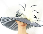 Derby Hat,Black and White Kentucky Derby Hat,Wide Brim Hat with Feathers