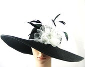 Summer Wide Brim BLACK Hat Women's Dress Bridal Wedding Tea Party Ascot Church Kentucky Derby