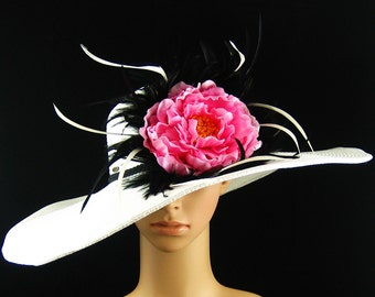 White Derby Hat with pink flower Dress Hat Wedding Hat Kentucky Derby Hat Wide Brim Hat Bridal Hat Ascot Racing Feathers Hat
