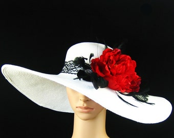 Derby Hat church hat dress hat church hat with black stripped feathers ,black lace band ,wide brim