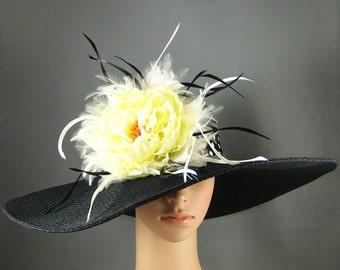 Derby Hat Dress Hat Church Hat Kentucky Derby Hat BLACK Hat Feathers Wide Brim Woman Dress Wedding Tea Party Ascot