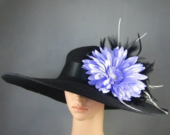 Derby Hat Kentucky Derby Hat Dress Hat Wedding Hat Tea Party Hat Wide Brim Womens Hat Race Ascot  Church Derby Hat with Feathers