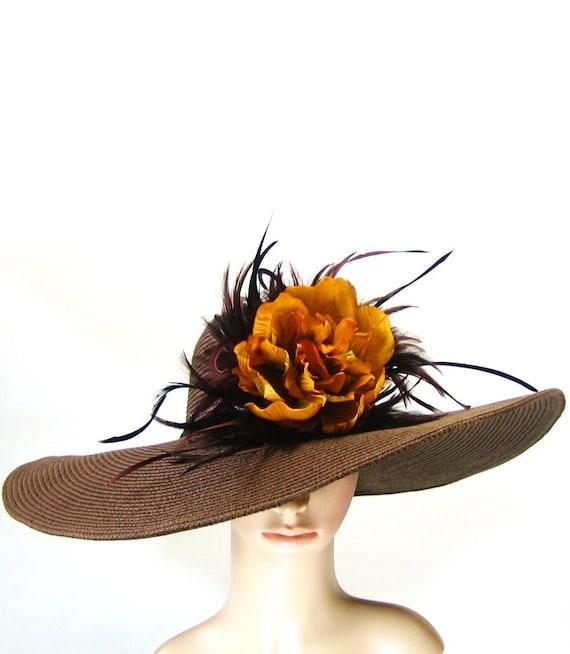 Derby Hat Dress Hat Kentucky Derby Hat Brown Wide Brim Hat Wedding Hat Tea Party Ascot Church Hat horse racing