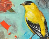 20% All Paintings with Code  G - Goldfinch - Original Mixed Media Bird Painting on Canvas by Nancy Jean - 14 x 18 Inches