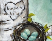 Love Nest Custom Painting - Gift Wrapping Included - Order by Jan 28 for Valentine Delivery