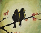 My Forever One - Original Love Bird Painting on Canvas by Nancy Jean - Wedding Anniversary Gift